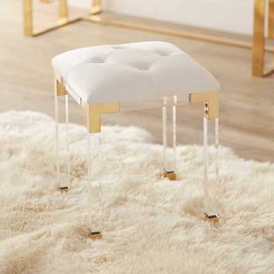 Stefania Gold and Acrylic Accent Stool - Style # 55K07 - Lamps Plus