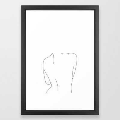 "Nude back line drawing illustration - Drew Framed Art Print; Vector Black; 15""x21"" - Society6"