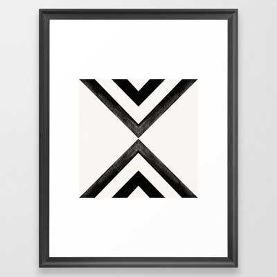Converging Triangles Black and White Moroccan Tile Pattern Framed Art Print - Conservation Walnut - 20 x 26 - Society6