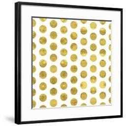 "White and Gold Pattern. Abstract Geometric Modern Polka Dot Background. Vector Illustration.Shiny B 30"" x 30"" Chelsea Black - art.com"