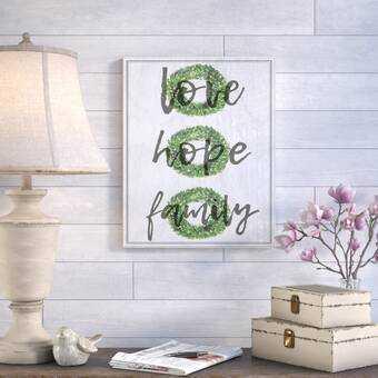 'Love Hope Family Boxwood Wreath' Textual Art - Wayfair