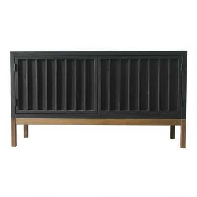 Blackwash Wood Slat Spence Media Stand - World Market/Cost Plus