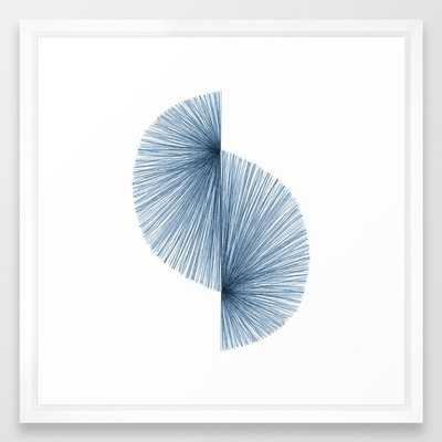 "Mid Century Style Modern Geometric Abstract in Indigo Blue Framed Art Print - 22"" x 22"" - Vector White - Society6"
