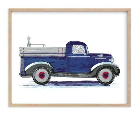 vintage fire apparatus - naval blue - natural wood frame - Minted