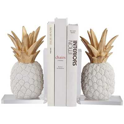 """Tropical Pineapple 10"""" High White and Gold Bookends - Lamps Plus"""