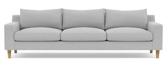 Sloan Sofa with Grey Ecru Fabric, standard down blend cushions, and Natural Oak Tapered Square Woo - Interior Define