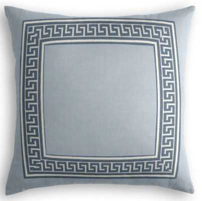 Custom Throw Pillow - Classic Linen Dusk with Greek Key Tape Trim - Sapphire - Loom Decor