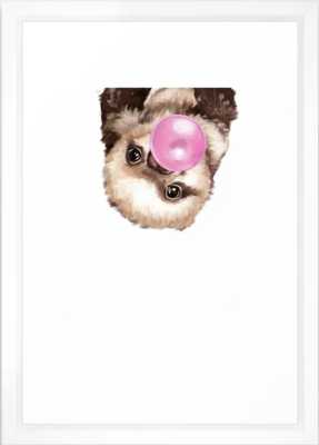 "Baby Sloth Playing Bubble Gum Framed Art Print - 15"" X 21"" - vector white frame - Society6"