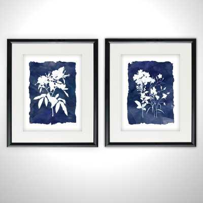 'Indigo Botanical' 2 Piece Framed Print Set - Wayfair