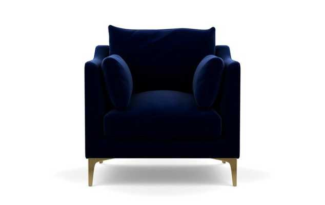 Caitlin by the Everygirl Petite Chair, Bergen Blue, Brass Plated Legs - Interior Define