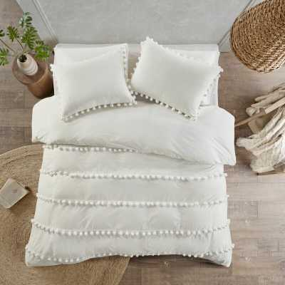 Obrian Pom Pom Comforter Set - Ivory - Full - Wayfair