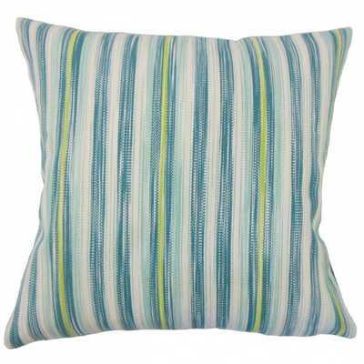 "Eliora Striped Pillow Aqua Green -18""x 18"",Down Insert - Linen & Seam"