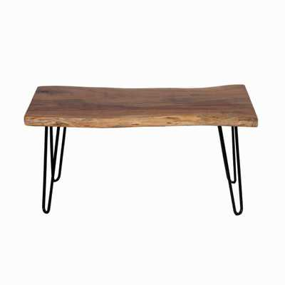 Hairpin 36 in. Brown Natural Live Edge Wood with Metal Bench - Home Depot