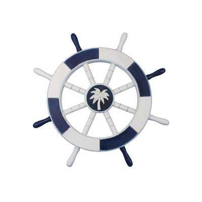 "Ship 18"" Decorative Ship Wheel with Palm Tree Wall Décor - Wayfair"