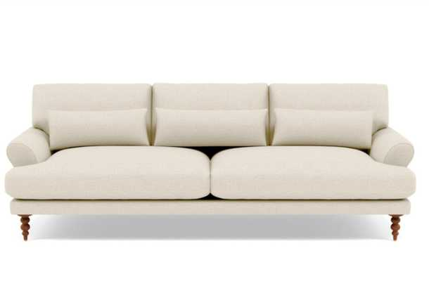 Maxwell Sofa with Oat Performance Pebble Knit and Oiled Walnut Tapered Turned Wood - Interior Define
