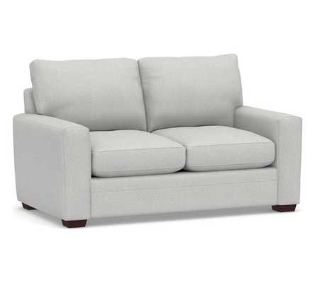 Pearce Modern Square Arm Upholstered Loveseat, Down Blend Wrapped Cushions, Performance Heathered Basketweave Dove - Pottery Barn