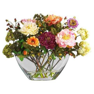 Mixed Peony w/Glass Vase Silk Flower Arrangement - Fiddle + Bloom