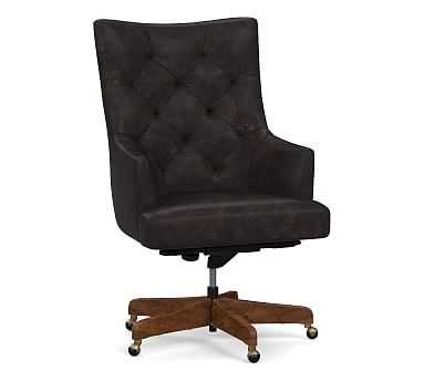 Radcliffe Leather Desk Chair Rustic Brown Base, Black Buffalo - Pottery Barn