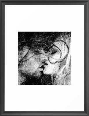 Abstract Ink Kiss Art Framed Print, Scoop Black, 20x26 - Society6