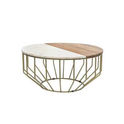 Singh Wood/Marble Round Coffee Table - Wayfair