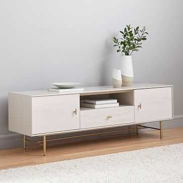 """Modernist Wood + Lacquer Media Console, 68"""", Winter Wood - West Elm"""