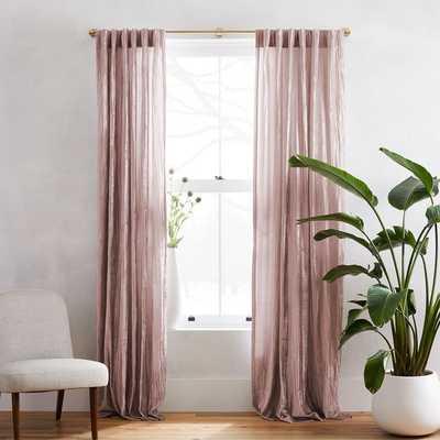 "Crinkle Velvet Curtain, 48""x84"", Dusty Blush - West Elm"