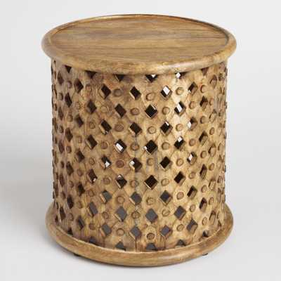 Round Lattice Carved Wood Accent Table - World Market/Cost Plus