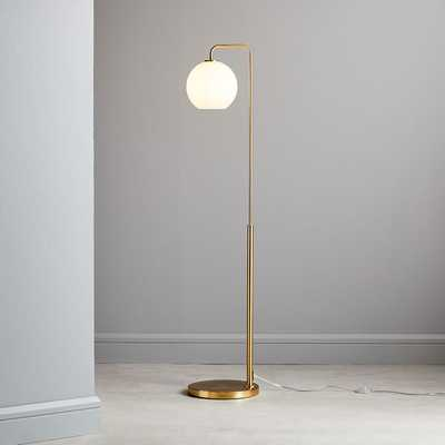 Sculptural Glass Globe Floor, Small Globe, Milk Shade, Brass Canopy - West Elm