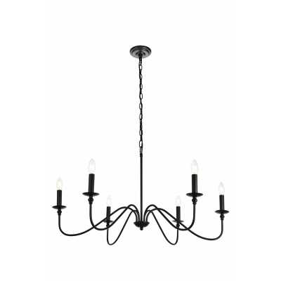 "36"" W x 19"" H Matte Black Hamza 6-Light Candle Style Chandelier - Wayfair"