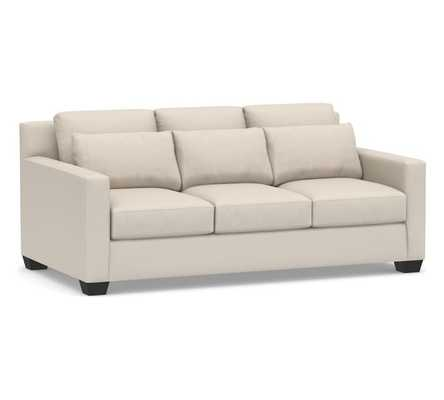 "York Deep Seat Square Arm Upholstered Sofa 79"", Down Blend Wrapped Cushions, Performance Brushed Basketweave Oatmeal - Pottery Barn"