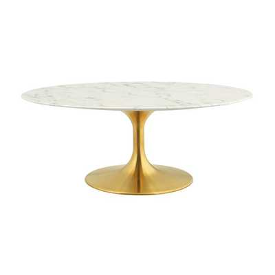 """LIPPA 42"""" OVAL-SHAPED COFFEE TABLE IN GOLD WHITE - Modway Furniture"""