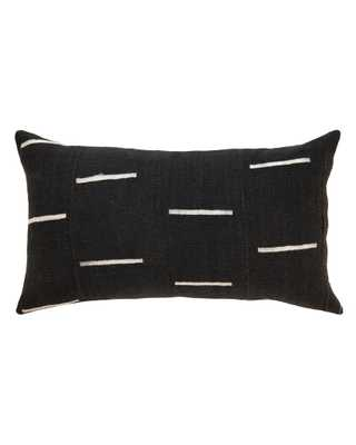 DASH MUD CLOTH LARGE LUMBAR PILLOW IN Black - PillowPia