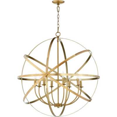 Brass ORBIT GLOBE CHANDELIER - 8 LIGHT - Shades of Light