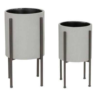 Pratcher 2-Piece Iron Pot Planter Set - Wayfair