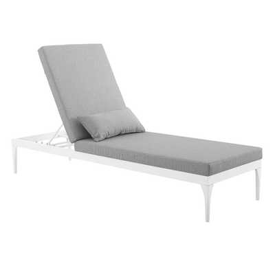 PERSPECTIVE CUSHION OUTDOOR PATIO CHAISE LOUNGE CHAIR IN WHITE GRAY - Modway Furniture