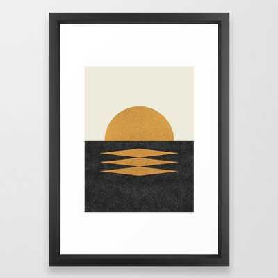 Sunset Geometric Framed Art Print, 15x21 vector black - Society6