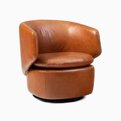 Crescent Swivel Chair, Poly, Saddle Leather, Nut - West Elm