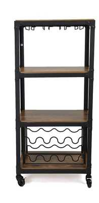 4 Tier Wood and Metal Bar Cart - Wayfair