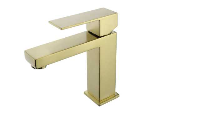 Single Hole Single-Handle Bathroom Faucet with Supply Line in Satin Brass - Home Depot