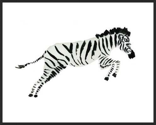 """Zebra Leaping 17""""x14"""" No Matte - Matte Black Metal Frame - Artfully Walls"""