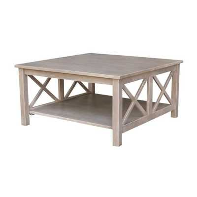 Hampton Weathered Grey Square Coffee Table, Weathered Gray - Home Depot