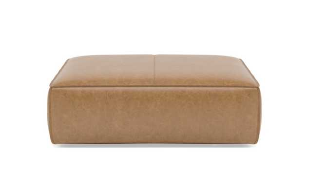 Palomino Gray Leather Ottoman - Interior Define