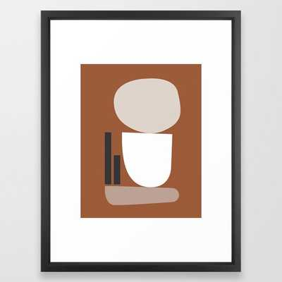 Shape study #11 - Stackable Collection Framed Art Print 20 x 26, Vector Black - Society6