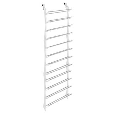 Shoe Rack Collection 22.63 in. x 74.50 in. 36-Pair Resin Over-the-Door Shoe Rack in White - Home Depot