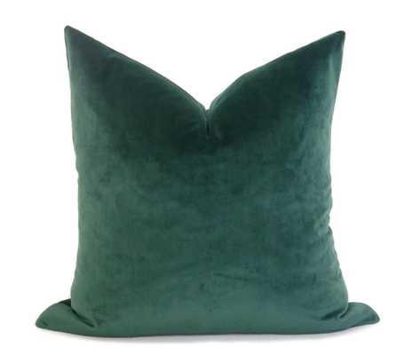 Plush Velvet Pillow Cover - Emerald Green 12 x 20 - Willa Skye