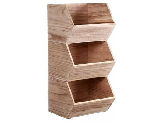 Stackable Wood Toy Storage Bin Natural - Pillowfort™ (Small) - Target