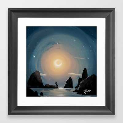 Crescent Moon Framed Art Print 12x12 scoop black frame - Society6