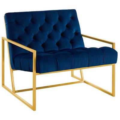 BEQUEST GOLD STAINLESS STEEL UPHOLSTERED VELVET ACCENT CHAIR IN NAVY - Modway Furniture