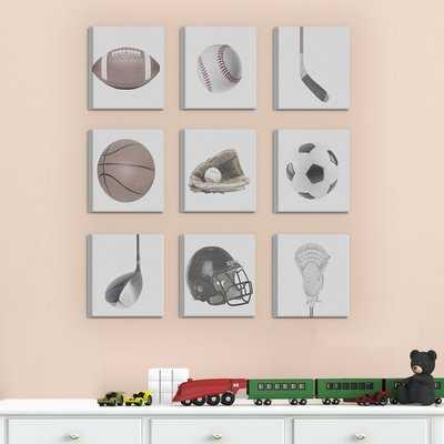 'Greyscale Sports Gear' 9 Piece Canvas Wall Art Set - Wayfair