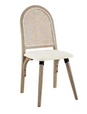 Art-Leon Rattan Linen Fabric Cane Dining Side Chair with Bamboo Frame - Overstock